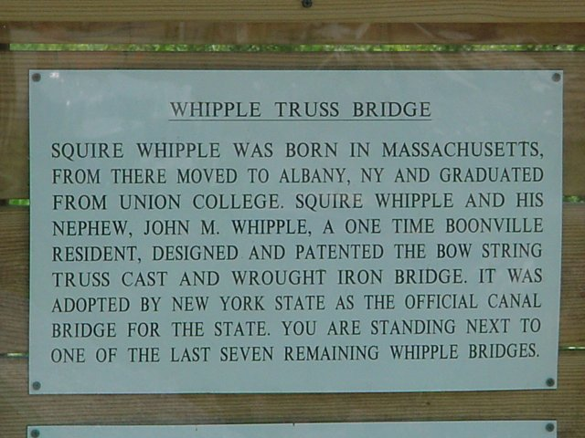 Plaque describing the Whipple Truss Bridge